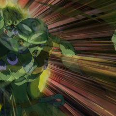 Giorno beating up Cioccolata with Gold Experience