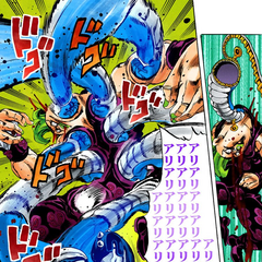 Unleashing a rapid barrage of punches, the Stand lets out its own <a href=