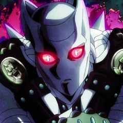 Killer Queen being summoned to protect Kira from Josuke.