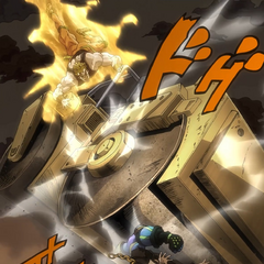 DIO drops a road roller on Jotaro