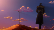 Jotaro buries N'Dour in the anime