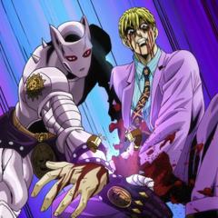 Kira severs his own left hand using Killer Queen