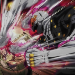 Delivering a fierce barrage of punches to Fugo