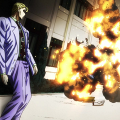 Kira blows up Shigechi using a coin bomb.