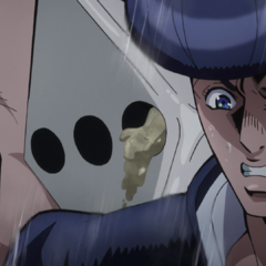 Josuke grosses out after Mikitaka throws up on him.
