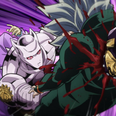 Kira uses Killer Queen to fatally punch through Koichi for insulting him.