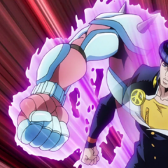 Josuke attacks with Crazy Diamond's arm.