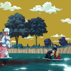 Helping Joseph in the water after he saves Shizuka.