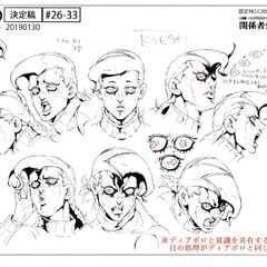 Doppio's face reference sheet