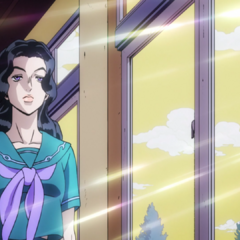 Yukako's initial appearance, walking down a school hallway.