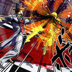 Zeppeli fighting in <i>Eyes of Heaven</i>