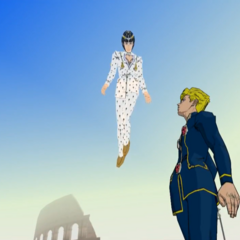 Giorno looking up at the spirits of his deceased friends