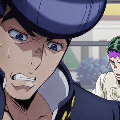 Josuke nervously tries to ignore Rohan on the bus.