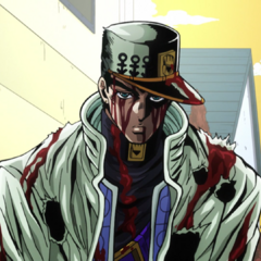 Jotaro stands up to protect Koichi, despite his severe wounds.