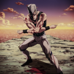 Polnareff cornered by Diavolo