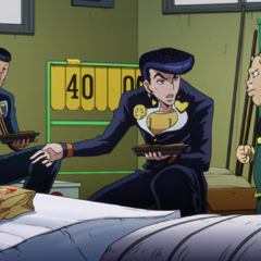 Okuyasu and Josuke being accused by Shigechi of stealing his sandwich.