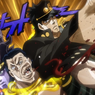 Jotaro punching Rubber Soul while Star Platinum holds him.