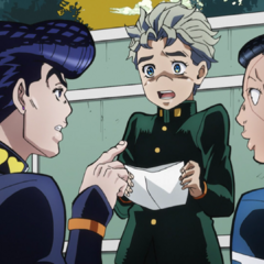 Koichi shows his awful grades to Josuke and Okuyasu.