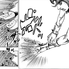 Mitsuba purges Tomoki's particles from her body