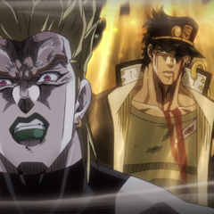 Ironically frozen in time, Jotaro taunts DIO with his newly-awakened powers