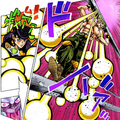 Toyohiro using the redirected scratch-shots to attack <a href=