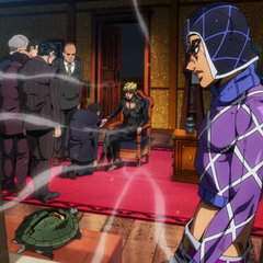 Mista opening the window for his new Boss Giorno