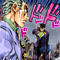 Kira confronting Josuke in the rain