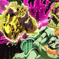 Giorno's arm, which has been turned into a piranha, bursts out of Baby Face's back