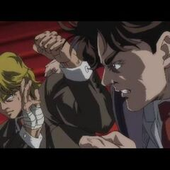 Jonathan and Dio about to fight.