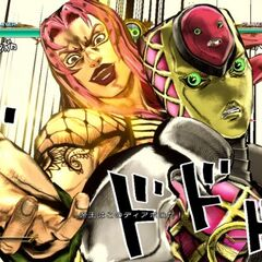 Diavolo and King Crimson upon activation of a Great Heat Attack (ASB)