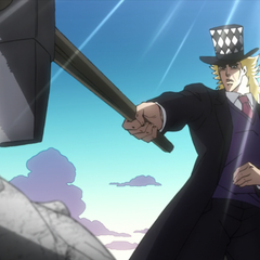 Speedwagon using his hammer to destroy the <a href=