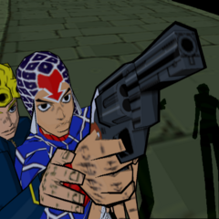 Giorno steadying Mistas hand to shoot