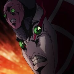 A close-up of King Crimson's enraged face