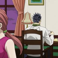 Shinobu blushes as she leaves tea for Kira.