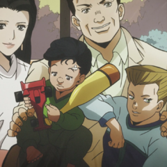 Okuyasu as a child, along with his family.