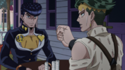 Josuke tries to keep from laughing