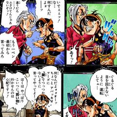 Fugo stabs Narancia when he cannot remembered what Fugo has said