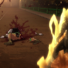 DIO's body destroyed by <i>Star Platinum'</i>s fatal blow