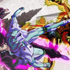 Crazy Diamond kicking Killer Queen in the head.