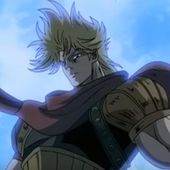 Dio standing atop the rock formation in the <i>Phantom Blood</i> <a class=