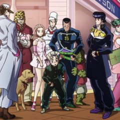 Jotaro along with the other warriors of Morioh.