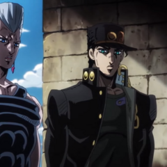 With Polnareff, gathering information on the whereabouts of <a class=