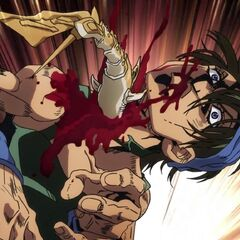 Clash attempts to tear Narancia's throat out.