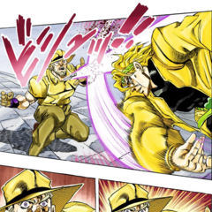 DIO throws a knife at Joseph, which temporarily kills him