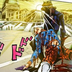 Giorno saves Mista from narrowly being killed