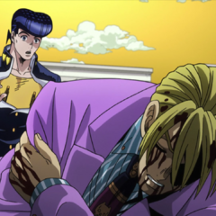 Being discovered by a concerned and unaware Josuke.
