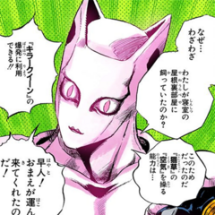 Stray Cat in the gap in Killer Queen's abdomen.