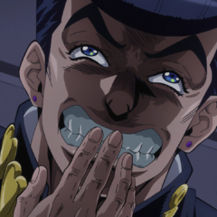 Josuke trying to keep himself from laughing at his scheme.