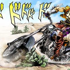 Джозеф катается на мотоцикле