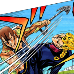 Luca swinging his shovel, about to attack Giorno
